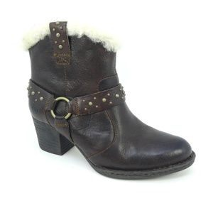 Born Leather Shearling Lined Western Harness Boots